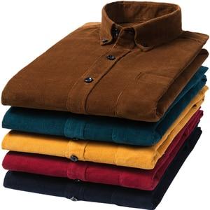 Image 5 - הגעה חדשה אופנה סופר גדול טהור כותנה קורדרוי סתיו גברים ארוך שרוול מזדמן רופף גדול מזדמן חולצות בתוספת גודל M 7XL 8XL