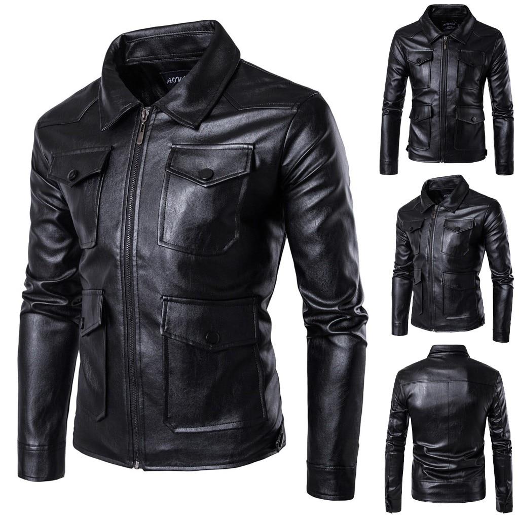 Jacket Coat Outwear Zipper-Pockets Motorcycle Autumn Winter Support Biker Men