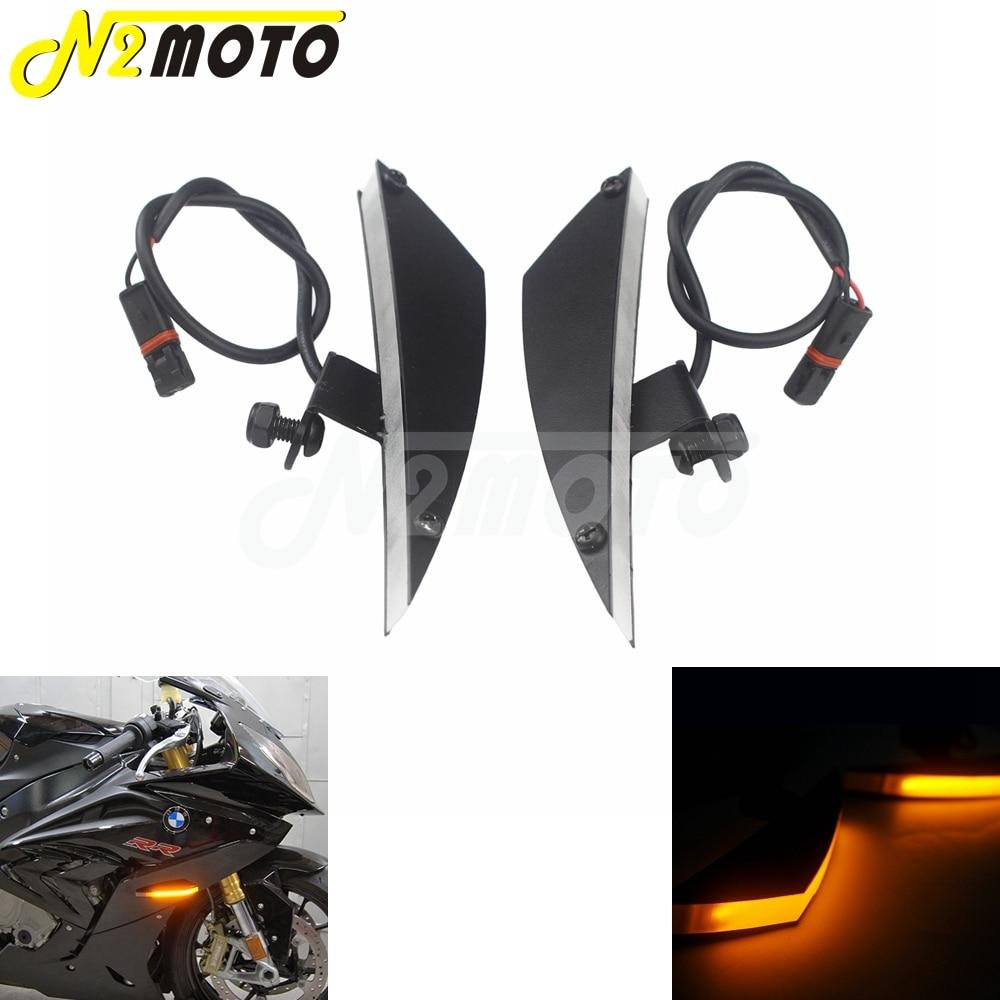 For BMW S1000RR 2009 2019 HP4 2013 2014 CNC Motorcycle 12V LED Turn Signal Lights Front Lights Amber Blinker Flashing Lights|  - title=
