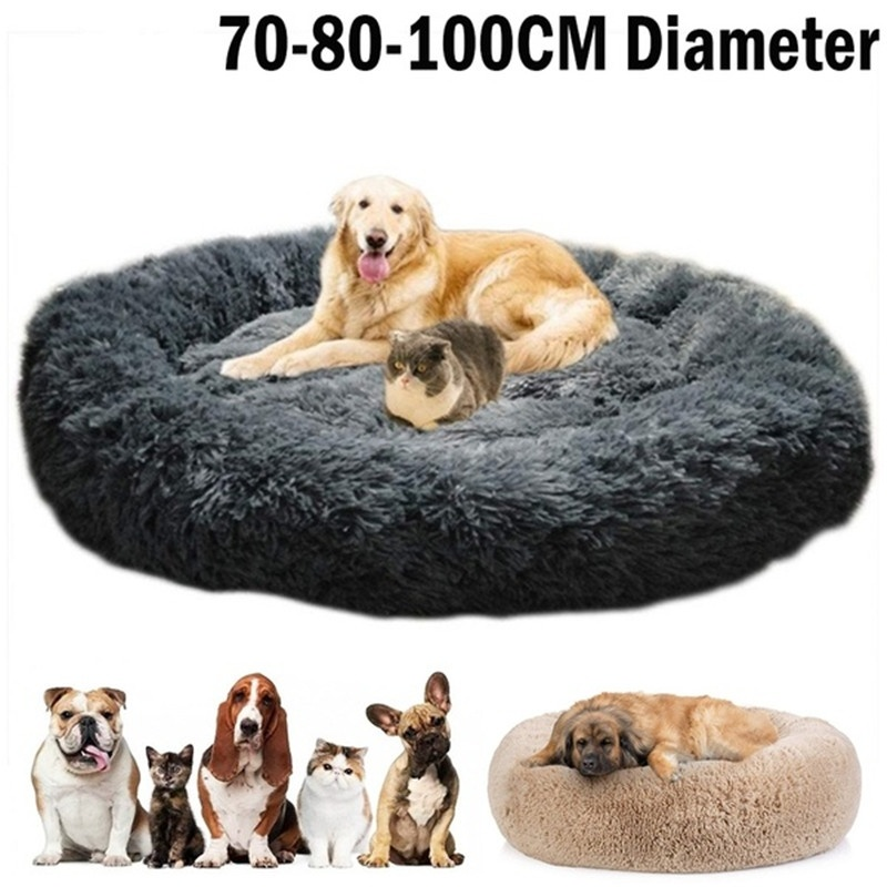 Pet Dog Round Long Plush Dog Beds for Large Dogs Pet Products Cushion Super Soft Fluffy Comfortable Cat Mat Supplies Accessories