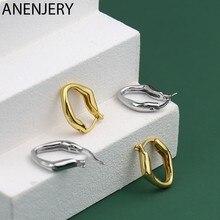 ANENJERY 925 en argent Sterling irrégulier géométrique boucles d'oreilles pour les femmes Simple lumière luxe bijoux cadeaux S-E1439