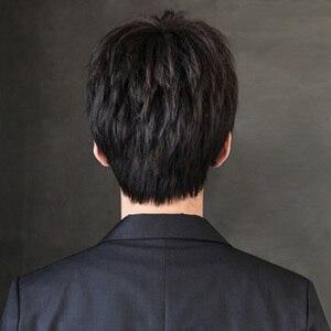 Image 4 - MUMUPI Synthetic Black Short men Wig Straight Wigs 100% Natural Real Hair Natural Hair Heat Resistant Wigs