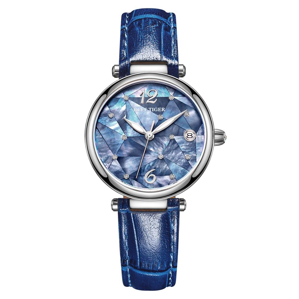 Reef Tiger/RT New Design Luxury Stainless Steel Blue Dial Automatic Watches Women Genuine Leather Strap Watches RGA1584 title=