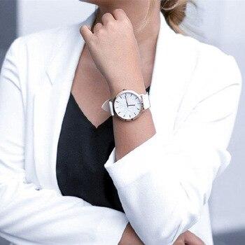 Simple Style White Leather Watches Women Minimalist Fashion Watch Ladies Casual Wristwatch Female Quartz Clock Reloj Mujer 2020 simple women s watches fashion clock ladies analog watch leather watch quartz wristwatch reloj mujer reloj de mujer