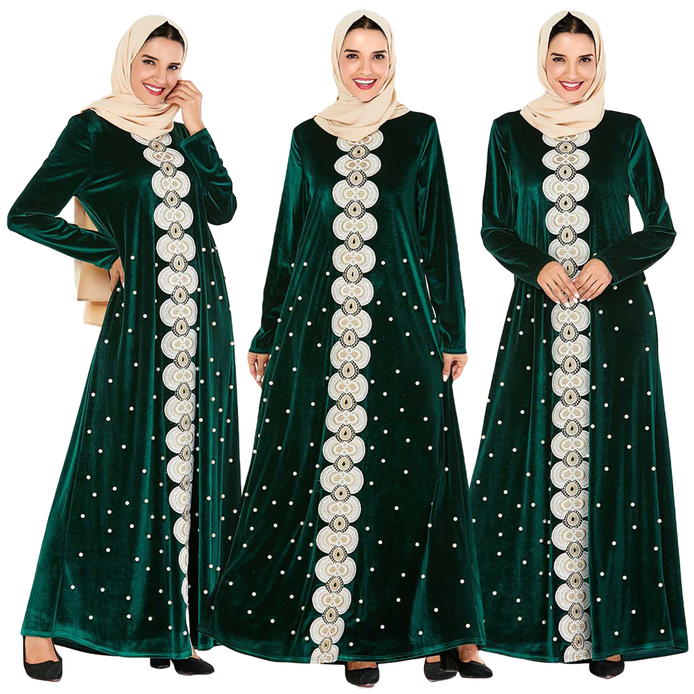 Velvet Abaya Dubai Muslim Women Long Sleeve Dress Beads Embroidery Maxi Cocktail Party Gown Arab Jilbab Kaftan Islamic Clothing