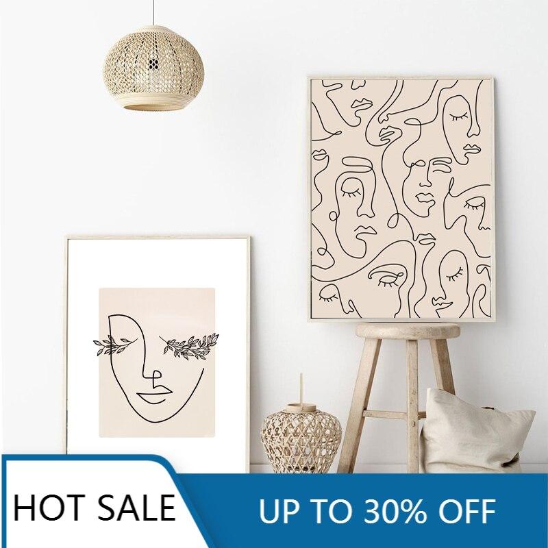 Абстрактная женщина, лицо, одна линия, рисование, принты, листья, растения, холст, живопись, плакат, минималистичный скандинавский Настенный декор, картина для дома Dec
