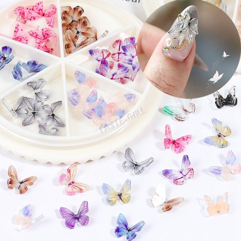 30 шт./колесо 3D Красочные бабочки очаровательные Стразы для дизайна ногтей украшение фаллоимитация DIY маникюр AB