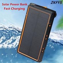 Waterproof Solar Power Bank 10000mAh Portable External Battery Mobile Phone Charger Pack LED Lighting USB Ports Travel