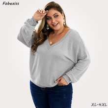 Loose Sweatershirt Woman Grey V Neck Plus Size 4XL Simple Pullovers Casual Knitted Jumper Autumn Clothes 2019