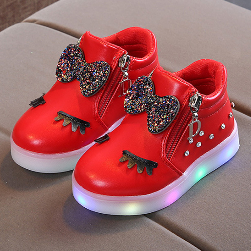 Fashion Gilrs Shoes Cute Knotbow Casaul Board Shoes With LED Light Toddler Kids  NSV775