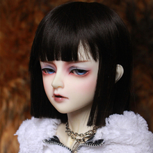 цена New Arrival 1/3 1/4 1/6 1/8 Bjd Wig High Temperature Short Black Wire Bjd Wig SD For BJD Doll Hair Wig онлайн в 2017 году