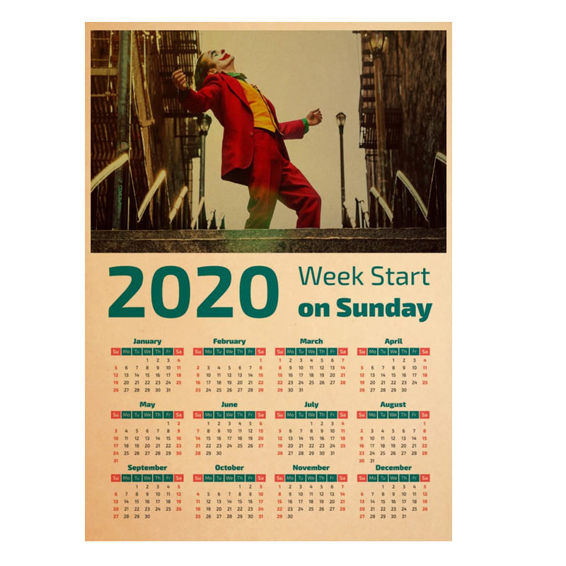 2020 Latest Calendar Poster Clown Movie Poster Kraft Paper Printing Retro Style Home Wall Sticker