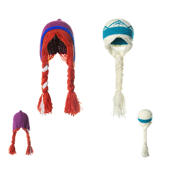 Niñas Elsa princesa sombreros de cosplay invierno tejer dibujos animados Anna sombreros accesorio famoso película sombreros azul naranja bebé Beanie