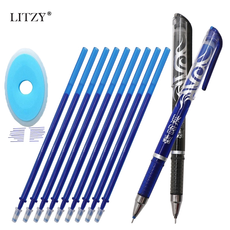 13Pc/Lot Erasable Pen Refill Set Washable Handle 0.5mm Blue Ink Erasable Rod Gel Pen For School Stationery Office Writing Supply