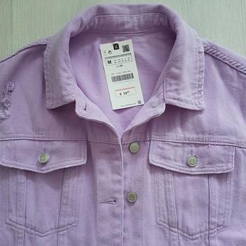 2020 Spring Autumn Purple Oversize Denim Jacket Women Solid Hole Casual Loose Jeans Jackets Coat Female Outwear Tops Veste Femme 3