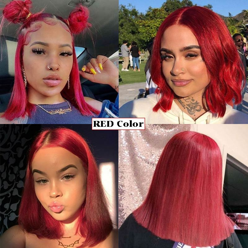 Rebecca Silky Straight Short Bob Lace Front Human Hair Wigs For Women ombre bule blonde pink  Color Middle Part Ombre Lace Wig