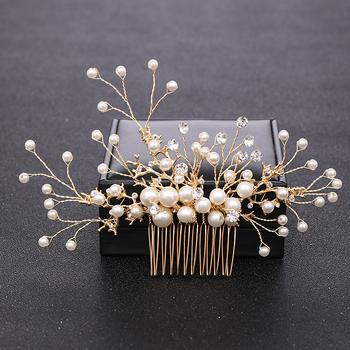Modna złota perełka ślubna grzebienie do włosów akcesoria do włosów biżuteria do włosów ślubna chluba głowa kobiety biżuteria grzebień ozdoby do włosów tanie i dobre opinie AiliBride Ze stopu cynku FS163 PLANT TRENDY Włosów grzebienie Hairwear Moda Pearl Symulowane perłowej Gold