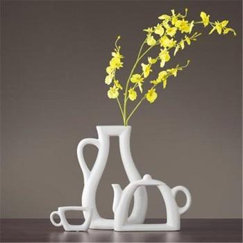 3pcs/set Nordic Simple Modern Vase Ornaments Creative Living Room Decoration Cabinet Ceramic Vase Flower Teapot Vase X2071