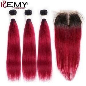 Image 2 - 1B 99J/ブルゴーニュ人間の髪のバンドル閉鎖kemy髪ブラジルストレートオンブル髪織りバンドルとともに 1 閉鎖 4 × 4 非レミー