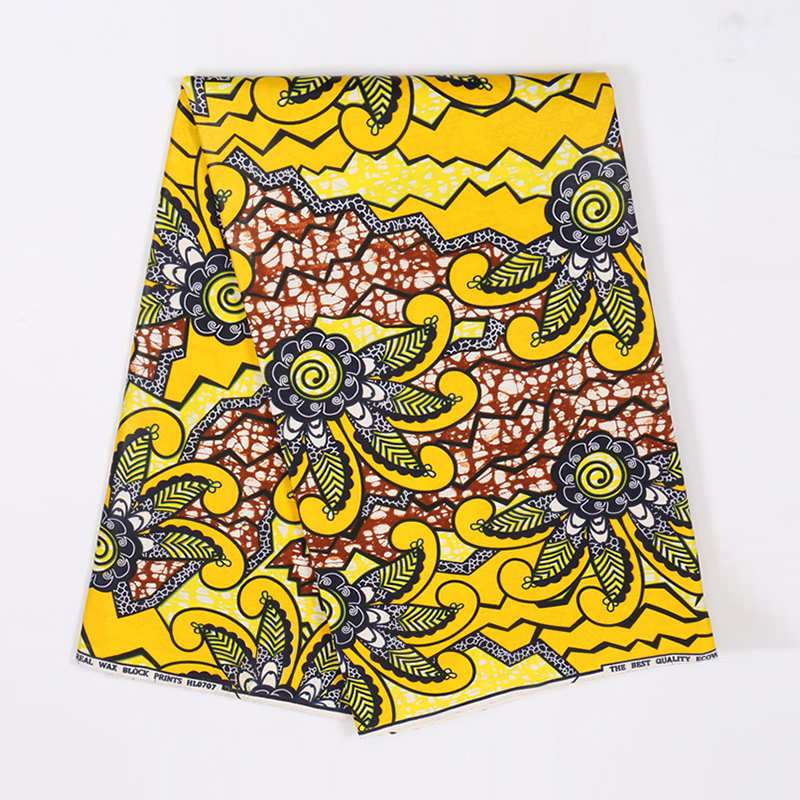 2019 Wax African Fabric Real 100% Cotton Yellow Flower Print Fabric African Pagne Olandese 6Yards\set