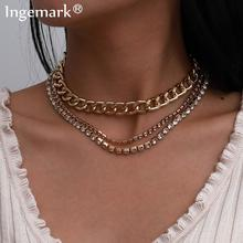 Goth Cuban Aluminum Chunky Chain Necklace Multilayer Iced Out Rhinestone Crystal Hip Hop Big Link Choker Necklace Women Jewelry