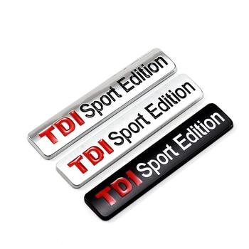 Metal Red TDI Sport Edition Logo Turbo Car Letter Sticker Emblem Chrome Badge Decals for VW POLO GOLF CC TT JETTA GTI TOUAREG 125mm chrome 1t0 853 601 a front radiator grille emblem car logo badge for vw jetta gli gti eos rabbit 2006 2009 1t0853601a