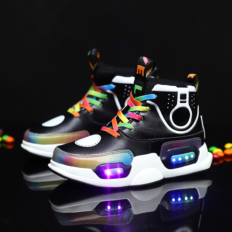 ULKNN 2019 Children USB Charge Colorful Led Back Light Shoes Mesh Girls Flash Luminous Sneakers Boys Glowing Sneakers Kids Shoes