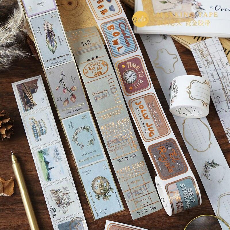 Retro Travel Series Gold Decorative Adhesive Tape Stamp Bills Map Masking Washi Tape DIY Scrapbooking Sticker Label Stationery