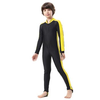 SBART dzieci kombinezon wysypka straż dziewczyna chłopiec dzieci pływać nurkowanie odzież sportowa garnitury anty-uv całe ciało z długim rękawem jednoczęściowy strój kąpielowy H tanie i dobre opinie Pasuje mniejszy niż zwykle proszę sprawdzić ten sklep jest dobór informacji Chłopcy Stretch Spandex Patchwork 1002kids