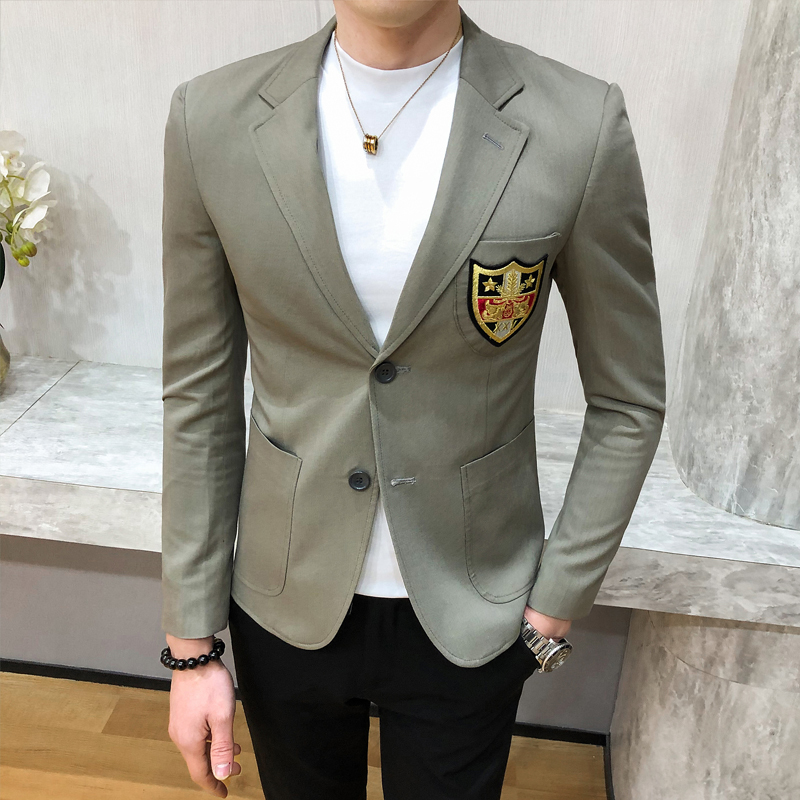 Men Gold Embroideried Blazer Slim Fit  Masculino New Spring Singer Host Costume European Style Studio Stage Wear Terno Masculino