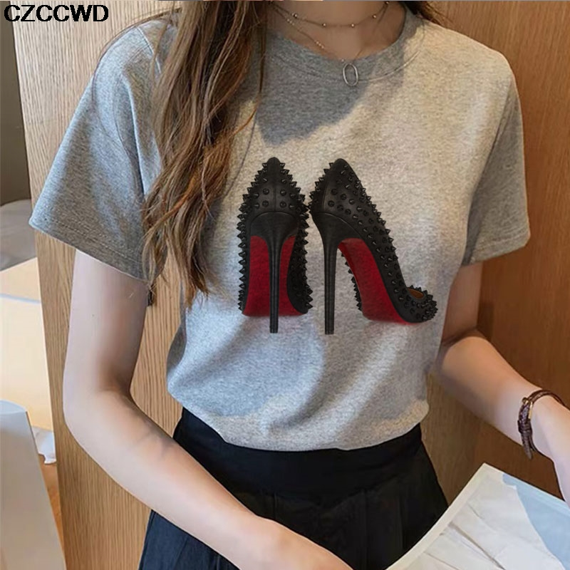 2020 Summer New Rivets Color High Heels Print Vogue Women T -shirt Fun Female T-shirt 90s Hip Hop Punk Tshirt Hipster Streetwear