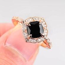 Anéis de noivado de casamento de noiva de zircão preto requintado anéis de pedra para mulheres de luxo jóias de ouro rosa