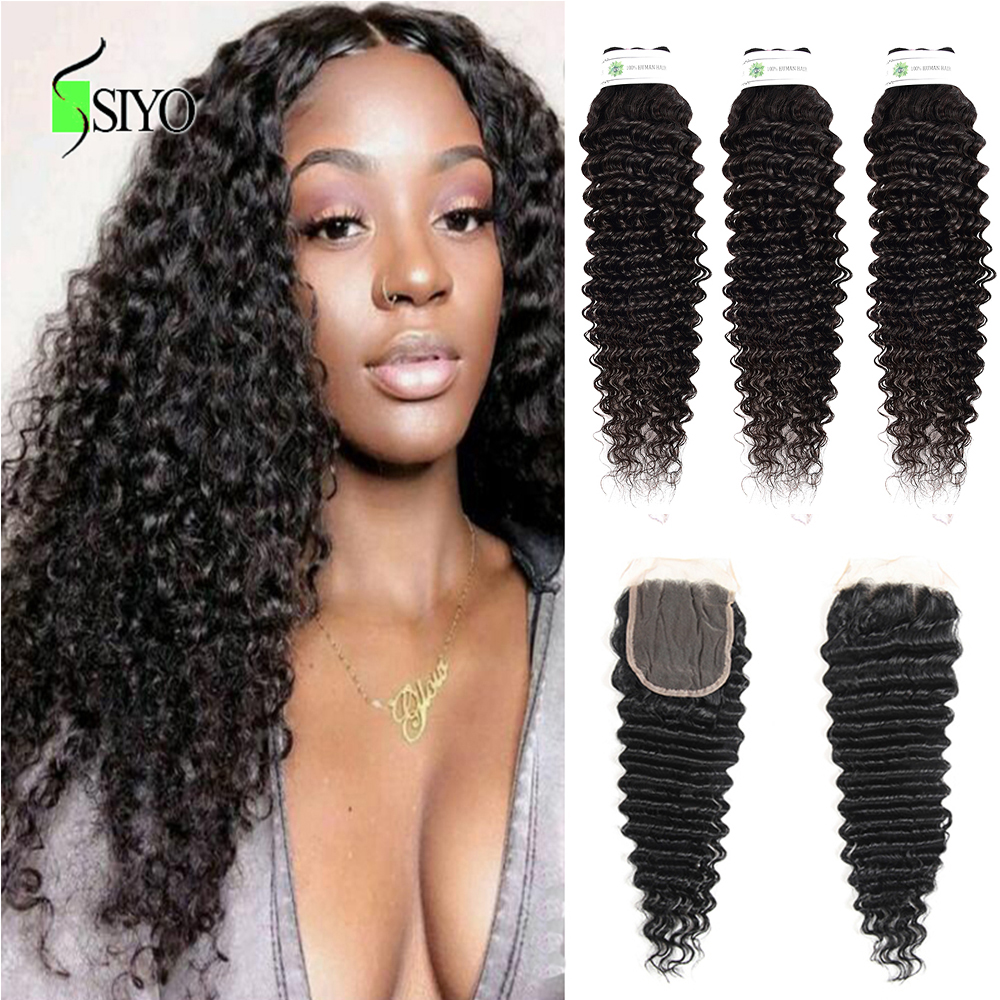 "Siyo Brazilian Deep Curly 3 Bundles With Closure 8-26"" M Remy Human Hair Bundles With Lace Closure 4*4 Inch"