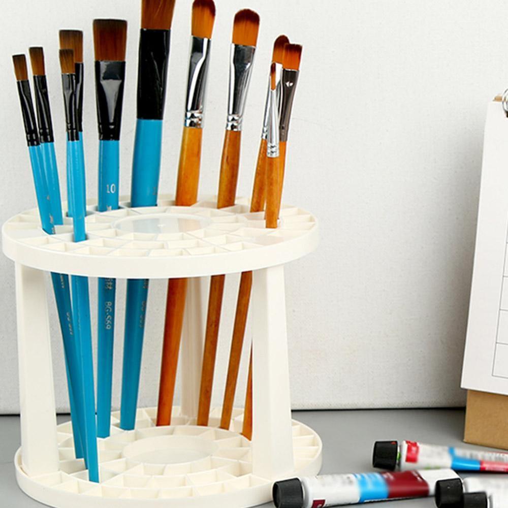 Paint Brush Pen Holder 49 Holes Pen Rack Display Stand Support Holder Watercolor Painting Brush Pen Holder Art Supplies