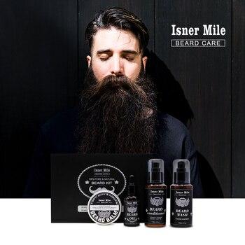 4PCS Beard Oil Beard Balm Men Beard Wash and Conditioner Set Natural Beard Growth Essential Oil Kit Male Beard Care Cleaning Kit 4
