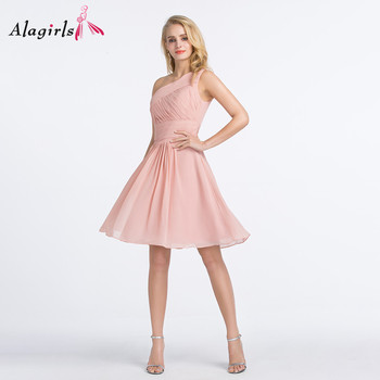 Alagirls One shoulder pink bridesmaid dress Women ruched short dress 2020 Simple knee length robes plus size ruched knee length smock dress