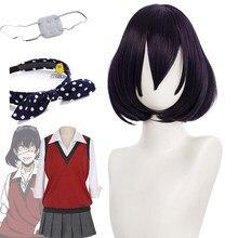 Kakegurui midari ikishima cosplay peruca curto preto roxo feminino cabelo sintético dia das bruxas natal faixa de cabelo olho remendo saia conjunto