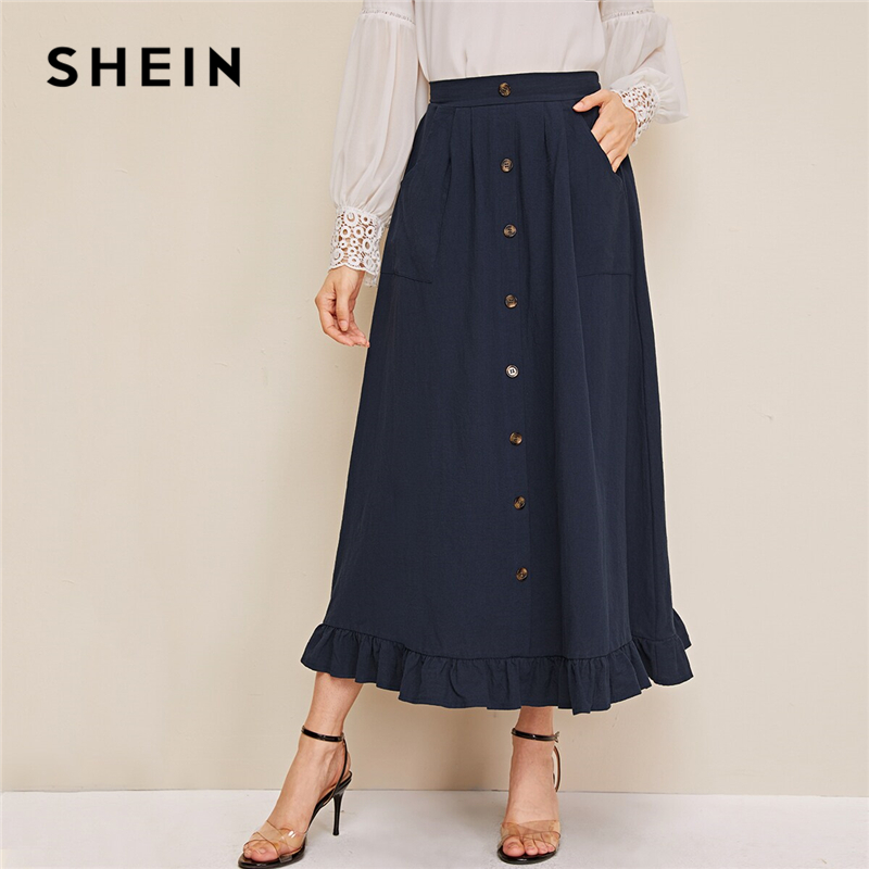 SHEIN Abaya Navy Button Front Ruffle Hem Skirts Womens Spring Autumn High Waist Solid Flared A Line Casual Long Skirt
