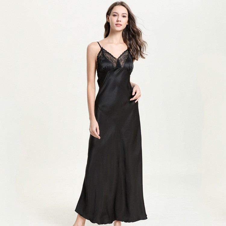 Slim Long Nightgown Spaghetti Strap Sleeveless Satin Home Dress Solid Rayon Sleepwear Fashion Loose Nightshirt Negligee Lounge