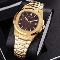 18K Yellow gold mens mechanical watches sapphire glass blue dial stainless steel bracelet sports watch Glide sooth second hand w