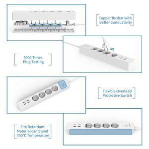 Image 2 - NTONPOWER 스마트 USB 전원 스트립 EU 플러그 4 콘센트 4 포트 USB 충전기 1.5M 케이블 전자 소켓 홈 오피스 서지 보호기