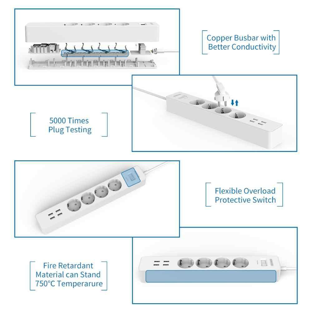 Tira de energía inteligente NTONPOWER con USB, enchufe de la UE, 4 salidas, Cargador USB de 4 puertos, Cable de 1,5 M, enchufe electrónico, Protector de sobretensiones para la Oficina y el hogar