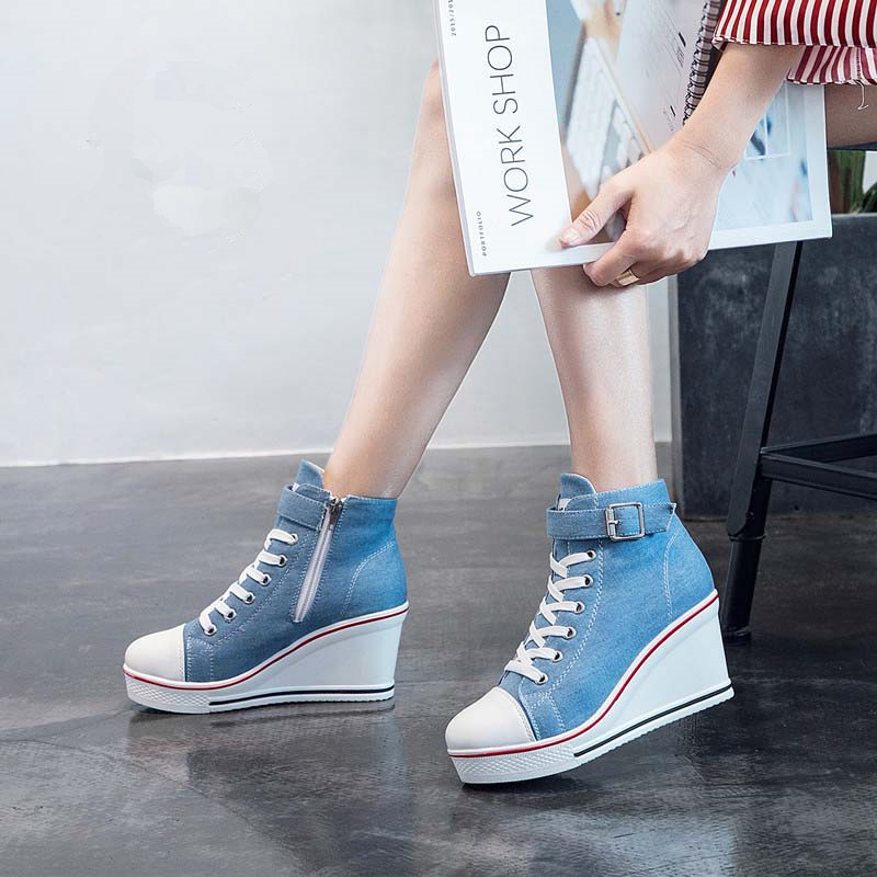 Canvas Shoes Women Wedges Platform Sneakers 8cm Heels Sports Shoes Lace Up Solid Color Casual Side Zipper Shoes 43 Zstm57