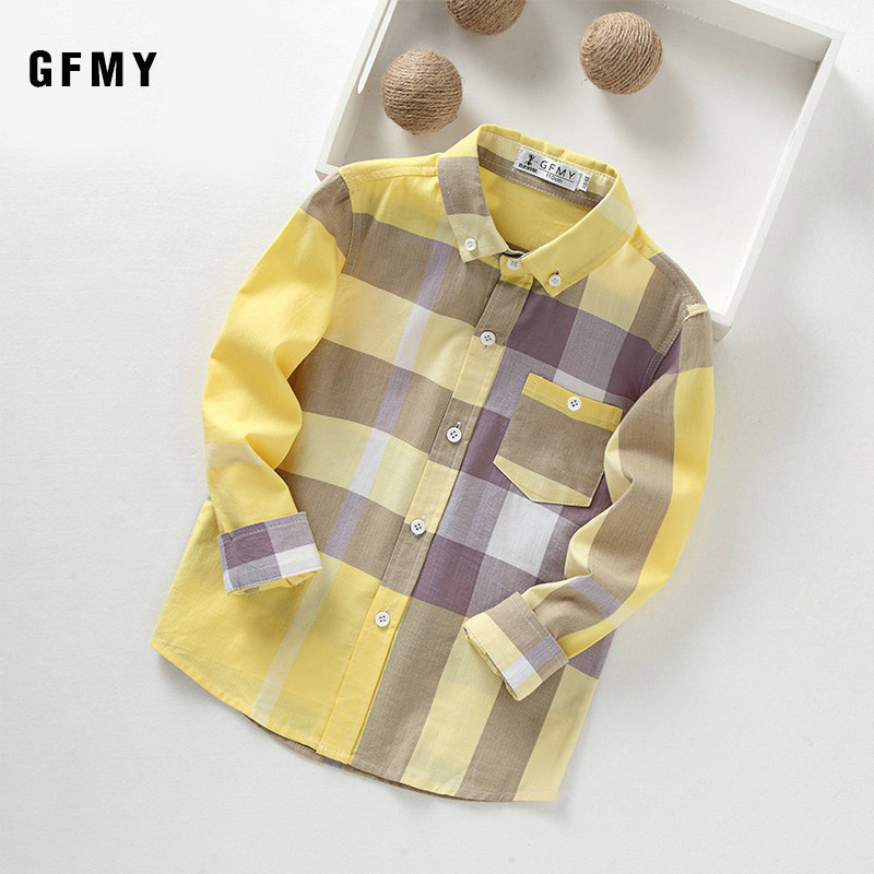 GFMY 2019 Autumn 100% Cotton Full Sleeve Fashion kids Plaid Shirt 3T-14T Casual Big Kid Clothes Can Be a Coat