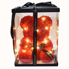 Hot 40cm Rose Bear  Flowers Teddy Home Wedding with Led light free cards