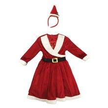 Рождественская одежда для детей платье маленьких девочек Санта