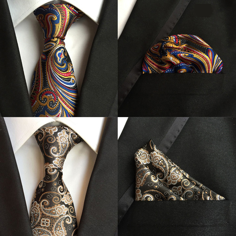 Fashion Silk 8cm Tie Handkerchief Set Classic Paisley Floral Neck Ties Pocket Square For Man Business Wedding Green Bule Necktie