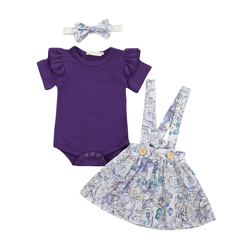 Summer Newborn Infant Baby Girls Clothing Set Flying Sleeve Romper Tops+Printed Suspender Skirt + Headband Clothes Outfits