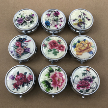 Vintage Floral Round Metal Pill Box, 3 Compartment, Pocket 5