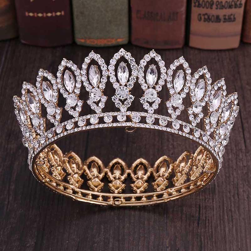 High Fashion Full Round Baroque Gold Blue Crystal Royal Princess Queen Diadem Tiaras Crowns for Bridal Bride Wedding PartyHair Jewelry   -